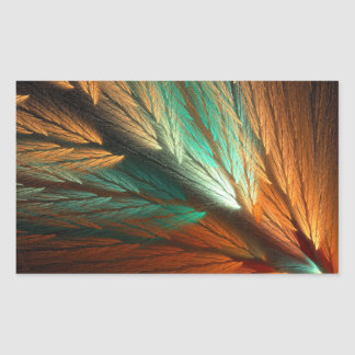 Orange & Green Abstract Fractal Rectangle Sticker