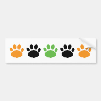 Orange, Green, and Black Animal Paw Prints Bumper Sticker