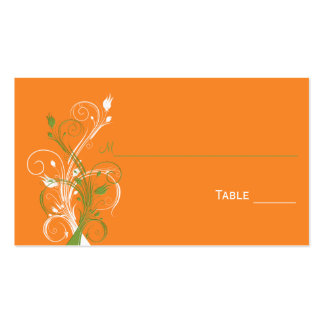Orange, Green, and White Floral Place Cards Business Card