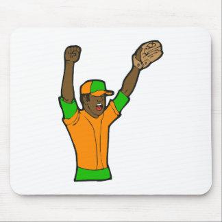 Orange Green Baseball Mouse Pad
