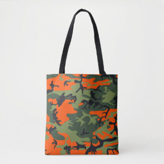 Orange, Green, Black Camo Camouflage Tote Bag