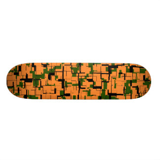 Orange Green Black Digital Camo Pattern Skate Decks