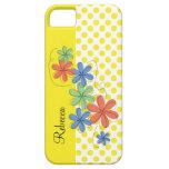 Orange, green, & blue daisies, yellow dots iPhone 5 case