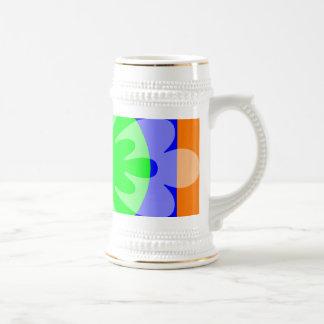 orange green blue flower mugs