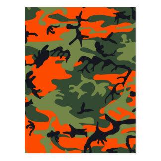 Orange Green Camouflage Postcard