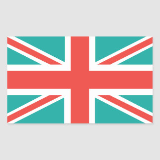 Orange Green Classic Union Jack British(UK) Flag Rectangular Sticker