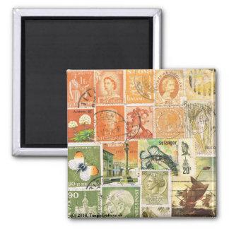 Orange Green Fridge Magnet, Hippie Boho Travel Art Square Magnet