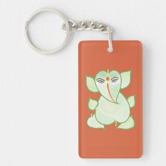 Orange & Green Ganesha Lucky Charm Key Chain