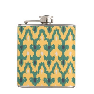 Orange Green Geometric Ikat Decorative Pattern Hip Flask