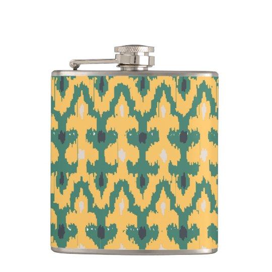 Orange Green Geometric Ikat Decorative Pattern Hip Flask