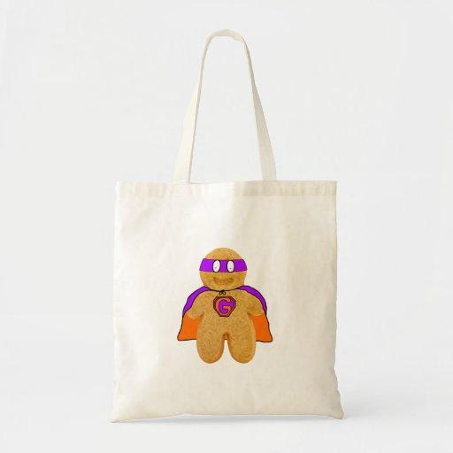 orange/ green gingerbread man super hero bag