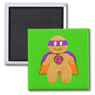 orange/ green gingerbread man super hero magnet