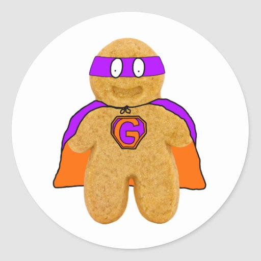 orange/ green gingerbread man super hero sticker