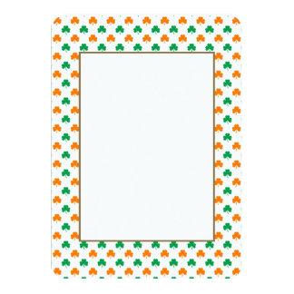 Orange Green Heart-Shaped Shamrocks On White 11 Cm X 16 Cm Invitation Card