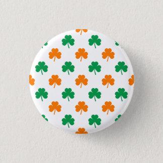 Orange Green Heart-Shaped Shamrocks On White 3 Cm Round Badge