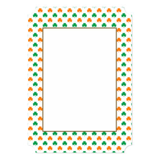 Orange Green Heart-Shaped Shamrocks On White 13 Cm X 18 Cm Invitation Card