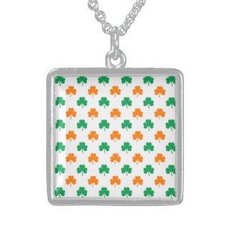 Orange Green Heart-Shaped Shamrocks On White Pendant