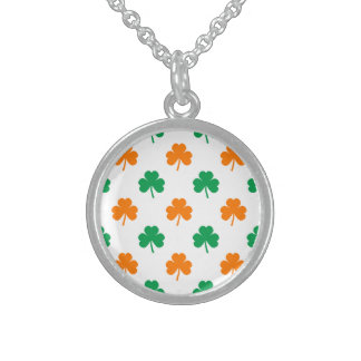 Orange Green Heart-Shaped Shamrocks On White Sterling Silver Necklaces