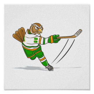 Orange Green Hockey Owl Poster