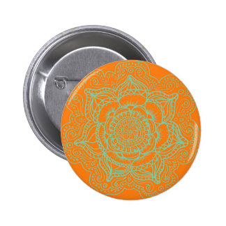 Orange Green Mandala 6 Cm Round Badge
