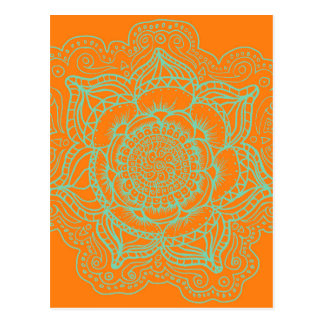 Orange Green Mandala Postcard