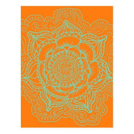 Orange Green Mandala Postcard
