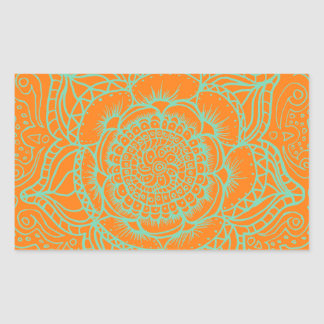 Orange Green Mandala Stickers