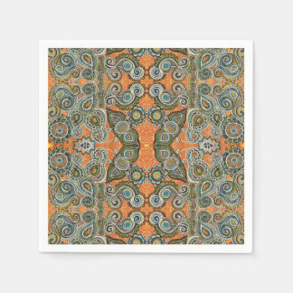 orange green paisley napkin disposable napkin