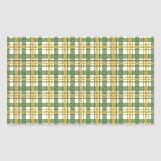 Orange Green Plaid Rectangular Sticker