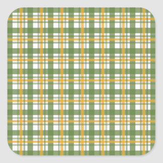 Orange Green Plaid Square Sticker