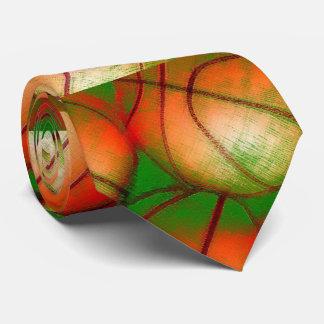 Orange Green Pop Art Basketball Tie