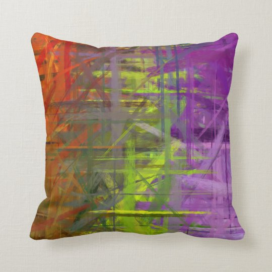 Orange Green Purple Abstract Art Painting Cushion