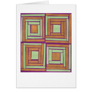 Orange green squares design note card
