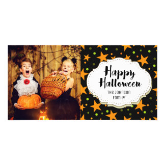 Orange & Green Stars Halloween Picture Photo Card