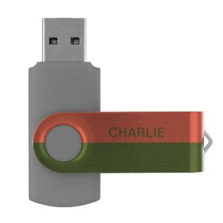 Orange & Green Stripes custom name USB drives