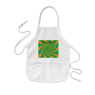 Orange green swirl kids apron
