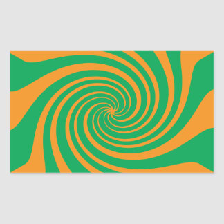 Orange green swirl rectangular sticker
