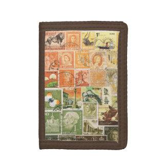 Orange Green Wallet, Abstract Landscape, Mail Art Trifold Wallets