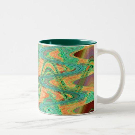 orange green waves Two-Tone coffee mug