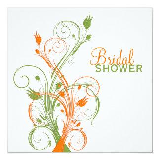 Orange Green White Floral Bridal Shower Invitation