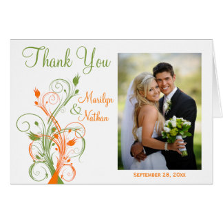 Orange Green White Floral Photo Thank You Card