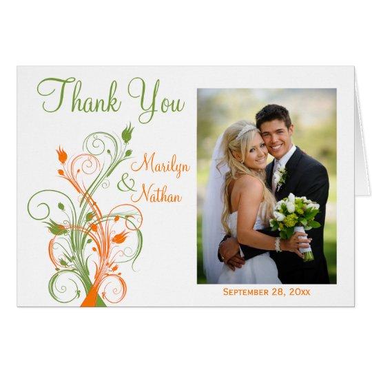 Orange Green White Floral Photo Thank You Card