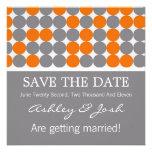 Orange, Grey & Black Dots Save The Date Invites