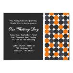 Orange, Grey & Black Polka Dots Wedding Invites 13 Cm X 18 Cm Invitation Card