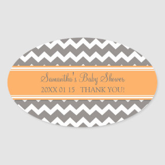 Orange Grey Chevron Baby Shower Favor Stickers