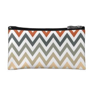 Orange Grey Chevron Geometric Designs Color Makeup Bag