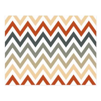 Orange Grey Chevron Geometric Designs Color Postcard