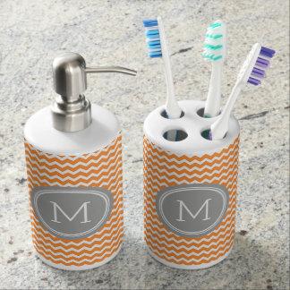 Orange Grey Chevron Pattern Soap Dispenser And Toothbrush Holder