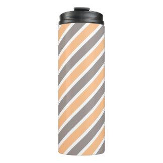 Orange Grey Diagonal Stripes Thermal Tumbler