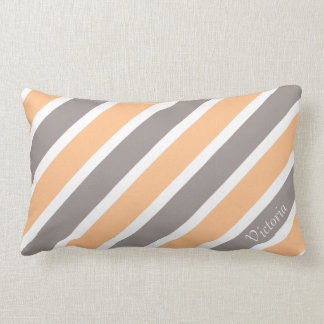 Orange Grey Diagonal Stripes with Custom Name Lumbar Pillow